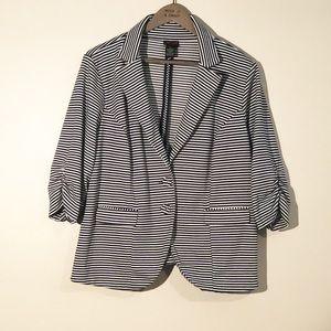 Torrid White and Dark Navy Blue Striped Blazer